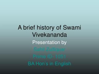 A brief history of Swami Vivekananda