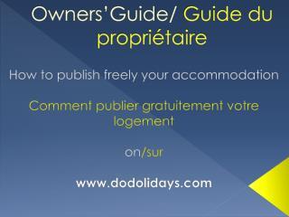 Owners'Guide/  Guide du propriétaire