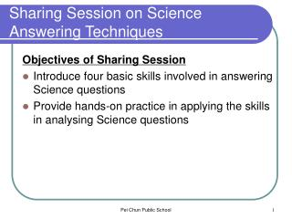 Sharing Session on Science Answering Techniques