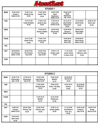 New Timetable Jan 2014