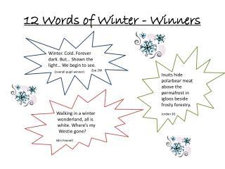 12 Words of Winter - Winners