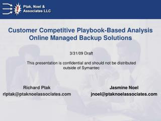 Customer Competitive Playbook-Based Analysis Online Managed Backup Solutions