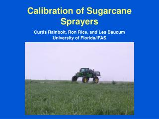 Calibration of Sugarcane Sprayers