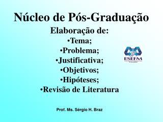 Núcleo de Pós-Graduação Elaboração de: Tema; Problema; Justificativa; Objetivos; Hipóteses;