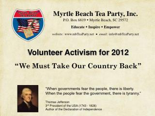 """Volunteer Activism for 2012 """" We Must Take Our Country Back """""""