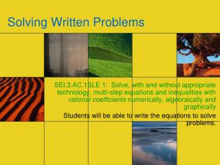 Solving Written Problems