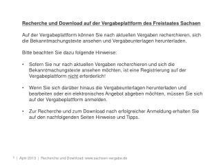 Recherche und Download auf der Vergabeplattform des Freistaates Sachsen