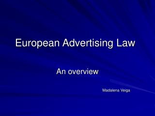 European Advertising Law