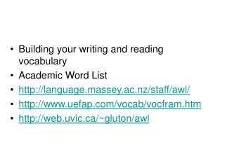 Building your writing and reading vocabulary  Academic Word List