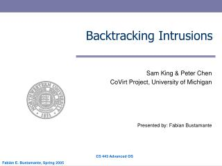 Backtracking Intrusions