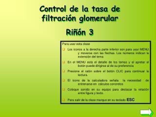 Control de la tasa de filtración glomerular Riñón 3
