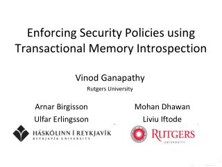 Enforcing Security Policies using Transactional Memory Introspection