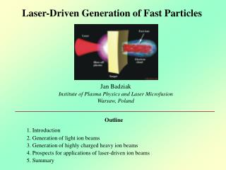Laser-Driven Generation of Fast Particles