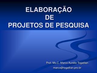 ELABORAÇÃO  DE  PROJETOS DE PESQUISA