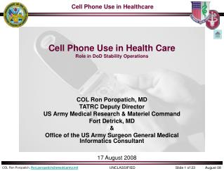 Cell Phone Use in Health Care Role in DoD Stability Operations