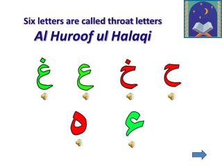 Six letters are called throat letters  Al  Huroof ul Halaqi