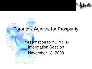 Toronto's Agenda for Prosperity
