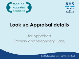 Look up Appraisal details