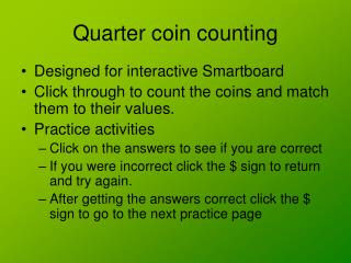 Quarter coin counting