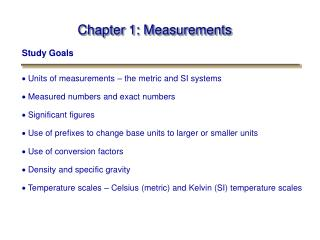 Chapter 1: Measurements