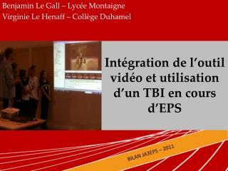Intégration de l'outil vidéo et utilisation d'un TBI en cours d'EPS