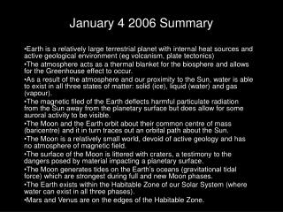 January 4 2006 Summary