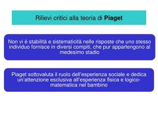 Rilievi critici alla teoria di  Piaget
