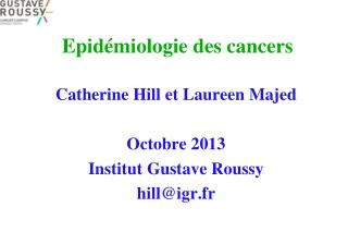 Epid�miologie des cancers