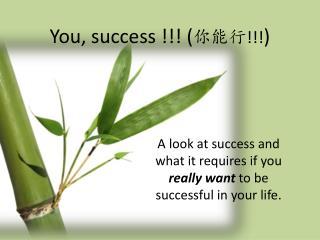 You, success !!! ( 你能行 !!! )