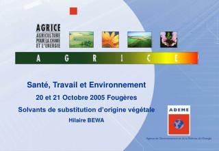 Sant , Travail et Environnement  20 et 21 Octobre 2005 Foug res Solvants de substitution d origine v g tale Hilaire BEWA