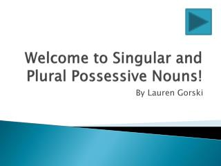 Welcome to Singular and Plural Possessive Nouns!