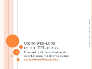 Using web-logs  in the EFL class