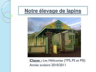 Classe :  Les Héliconias (TPS, PS et MS) Année scolaire 2010/2011
