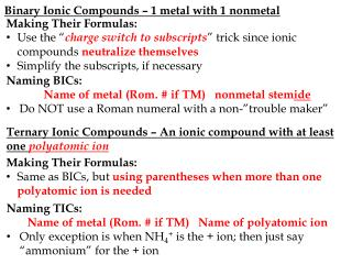 Binary Ionic Compounds – 1 metal with 1 nonmetal