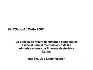 EUROsociAL Quito 2007