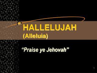 HALLELUJAH  (Alleluia)