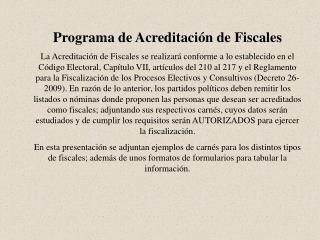 Programa de Acreditaci�n de Fiscales