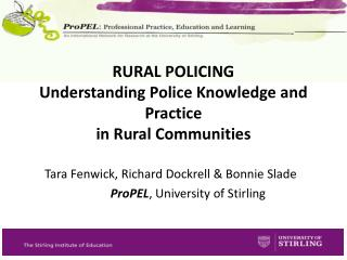 RURAL POLICING Understanding Police Knowledge and Practice  in Rural Communities