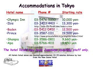 Accommodations in Tokyo