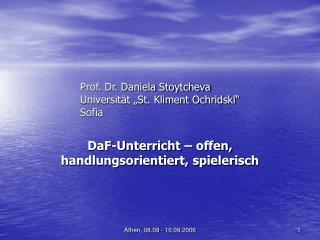 "Prof. Dr. Daniela Stoytcheva Universität ""St. Kliment Ochridski"" Sofia"