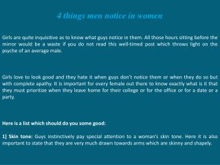 4 things men notice in women