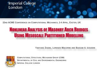 Nonlinear  Analysis of  Masonry Arch Bridges  Using Mesoscale Partitioned Modelling