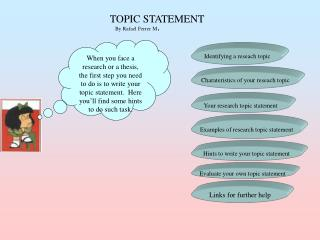 TOPIC STATEMENT