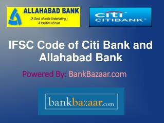 IFSC Code of Allahabad Bank and CitiBank