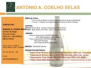 ANT NIO A. COELHO SELAS