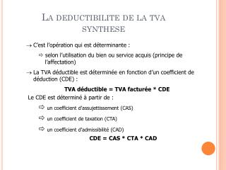 La  deductibilite  de la tva synthese