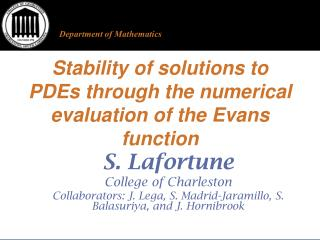 Stability of solutions to PDEs through the numerical evaluation of the Evans function