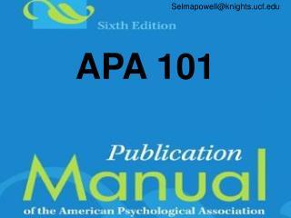 APA 101
