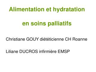 Alimentation et hydratation  en soins palliatifs