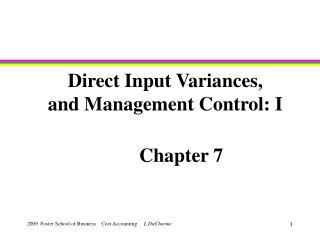 Direct Input Variances